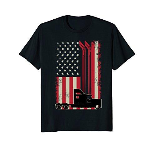 Mens Trucker Flag Truck Driver T Shirt Gift XL Black