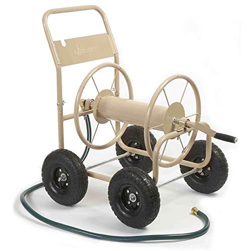 Liberty Garden Products 870-M1-2 Industrial 4-Wheel Garden Hose Reel Cart, Holds 300-Feet of 5/8-Inch Hose - Tan (Hose Wheel Reel 2)