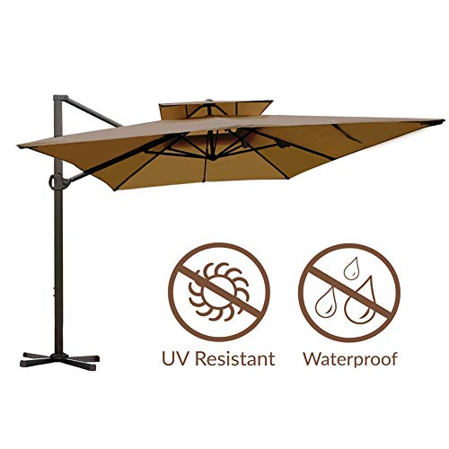Abba Patio Rectangular Offset Cantilever Dual Wind Vent Patio Hanging Umbrella with Cross Base, 9 by 12-Feet, Dark Brown