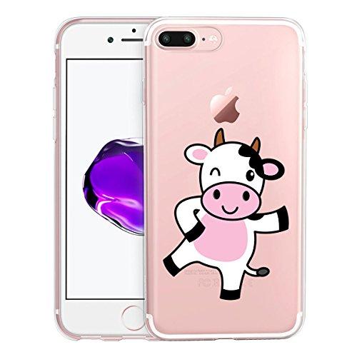 Funda para iPhone 7 Plus / 8 Plus , IJIA Transparente Gato Lindo TPU Silicona Suave Cover Tapa Caso Parachoques Carcasa Cubierta para Apple iPhone 7 Plus / 8 Plus (5.5) WM130