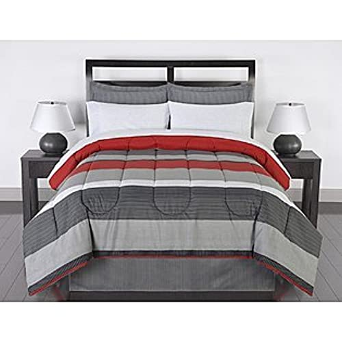 Black Gray Red Stripes Boys Teen Full Comforter Set (8 Piece Bed In A Bag)  By Greyson
