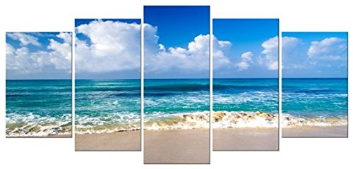 Pyradecor Seaside Modern Stretched and Framed Seascape 5 panels Giclee Canvas Prints Artwork Landscape Pictures Paintings on Canvas Wall Art for Home Decor