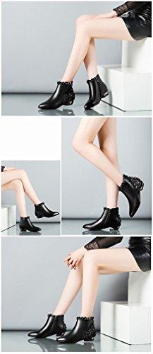 Dorada Tacones de Shorts con Botas Marea Ásperas con Mujer Bajos Invierno Zapatos Desnuda de Do Punta XAI con Botas de npfqwO787