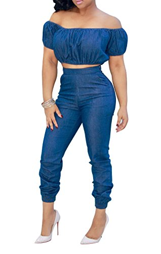 FISACE Women's Short Sleeve Off Shoulder Denim Crop Top Pants Suit Set Jumpsuit 2 Pieces