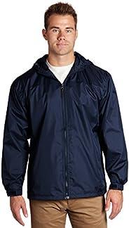 Blue Windbreaker Men - Lined Hooded Pockets Full Zip - Navy, Large - éb79