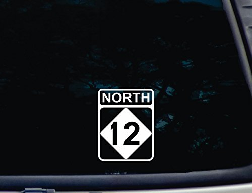 "North 12 - 3 3/4"" x 4 7/8"" die cut vinyl decal for window, car, truck, tool box, virtually any hard, smooth surface"