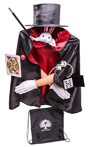 Kids Deluxe 12pc Magician Costume Set w/Storage Bag Black, Red