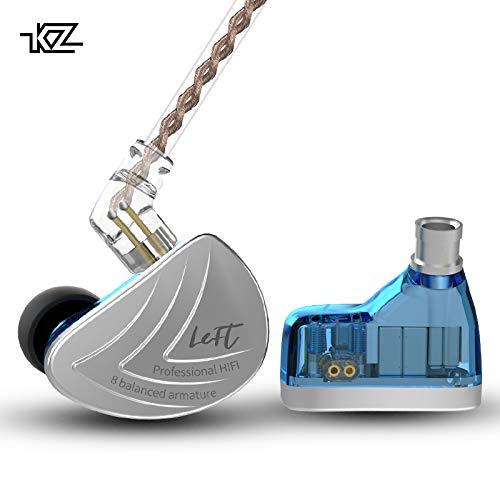 KINBOOFI KZ AS16 in Ear Headphone 8BA Per Side KZ Stage Studio Monitor Earphone (Blue No Mic)