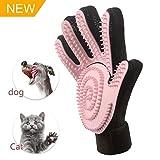 FASTDEER Pet Grooming Glove Gentle Deshedding Brush Glove Imitating Cat Tongue - Pink