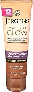 Jergens Natural Glow 3 Days to Glow Moisturizer, Medium to Tan Skin Tones, 4 Ounce