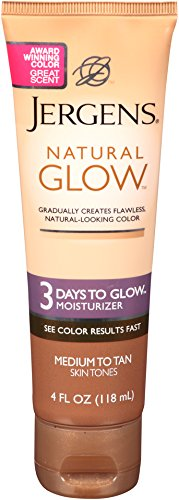 Jergens Natural Glow 3 Days to Glow Moisturizer, Medium to Tan Skin Tones, 4 Ounce