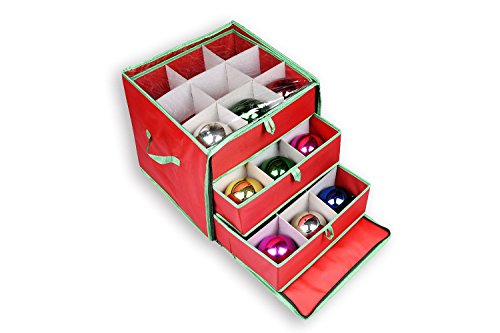 (nGenius Christmas Ornament Storage Box with Drawers for 27 Large Ornaments )