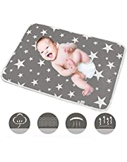 Conleke Baby Changing Mat,Unisex Baby Waterproof Diaper Changing Pad with Large Size Portable Sheet for Any Places for Home Travel Bed Play Stroller Crib Car - Mattress Pad Cover for Boys and Girls (Grey, 50*70 cm/20*28 inch)
