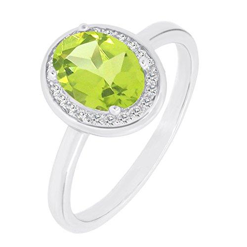 Amethyst Peridot Ring (Vintage Style Sterling Silver Oval Cut Natural Amethyst, Citrine, Garnet, Peridot and Topaz Gemstone Halo Ring (5, peridot))