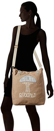 Adelheid Damen Glückspilz Einkaufstasche Shopper, 44x39x10 cm Braun (Taupe 366 366)