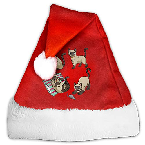Kids Adults Christmas Hat Cute Siamese Cat Santa Claus Reindeer Snowman Xmas Gifts Cap for $<!--$8.70-->