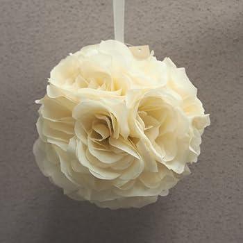 Amazon.com: Pomander Flower Balls Wedding Centerpiece, 6-inch, Ivory ...