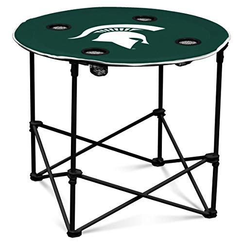 State Tailgate Table - Michigan State Spartans Collapsible Round Table with 4 Cup Holders and Carry Bag