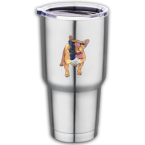 French Bulldog USA Flag Sunglasses Tie 20 Oz Stainless Steel Vacuum Insulated Tumbler Cups With Lid Travel - Sunglasses Jamaican Flag