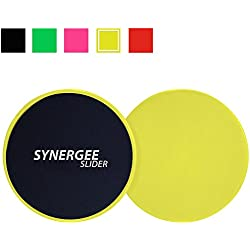 iheartsynergee Yellow Core Sliders. Dual Sided Use on Carpet or Hardwood Floors. Abdominal Exercise Equipment