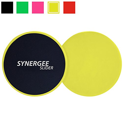 Synergee Yellow Gliding Discs Core Sliders. Dual Sided Use on Carpet or Hardwood Floors. Abdominal Exercise Equipment