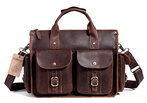 EverVanz Tote Handmade Vintage Leather Briefcase without Flap for 15 Inch Laptop Bag Shoulder Messenger Bag