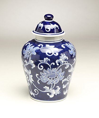 (AA Importing 59946 10 Inch Blue & White Ginger Jar)