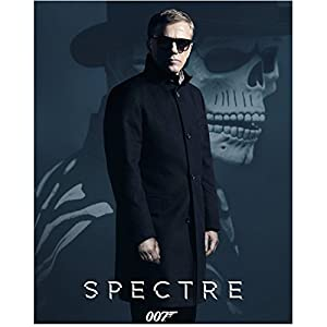 Spectre (2015) 8 inch x 10 inch Photo Daniel Craig in Sunglasses & Overcoat in Front of Skeleton Title at Bottom kn