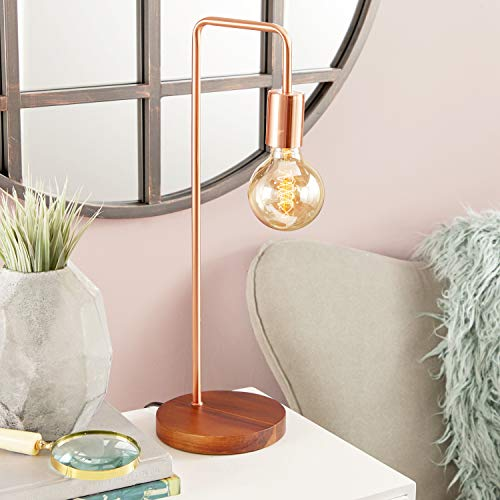 CosmoLiving by Cosmopolitan 39113 Tall Industrial Style Metallic Copper Metal Table Lamp with Diffused Edison Bulb | 7