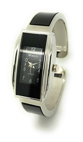 Ladies Small Rectangle Casual Elegant Metal Bangle Cuff Fashion Watch Wincci (silver black) - Womens Rectangle Bangle Watch