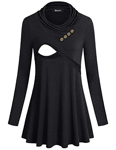 Quinee Breastfeedng Shirts, Womens Cowl Neck Long Sleeve Nursing Tops for Breastfeeding Vintage Buttons Double Layers Elastic Cotton Thick Loose Fit Comfortable Maternity Shirts Black L - Dress Pleat Maternity Sleeve