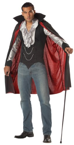 [California Costumes Men's Very Cool Vampire Costume, Black/Silver,X-Large] (Dracula Costume For Men)