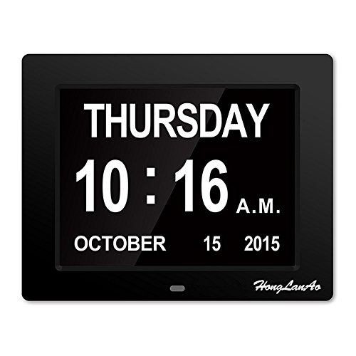 8inch Day Clock - The Original Memory Loss Digital Calendar Day Clock with Extra Large Non-Abbreviated Day & Month