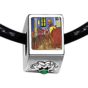 Chicforest Silver Plated The Bedroom Of Arles Painting Photo Emerald Green Crystal May Birthstone Flower Charm Beads Fits Pandora Charms
