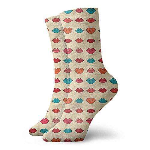 Ankle Socks Hosiery Kiss,Colorful Girl Lips Pattern 3.4