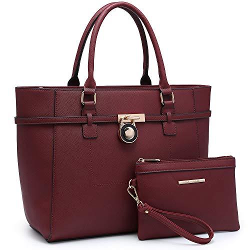 Large Top Handle Satchel Women Handbag Ladies Shoulder Bag Purse Set Faux Leather (Burgundy)