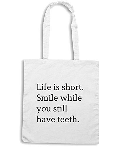 T-Shirtshock - Bolsa para la compra CIT0148 Life is short. Smile while you have teeth! Blanco