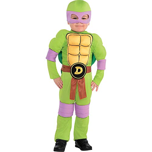 Amscan Teenage Mutant Ninja Turtles Donatello Muscle Halloween Costume for Toddler Boys, 3-4T, with Accessories -