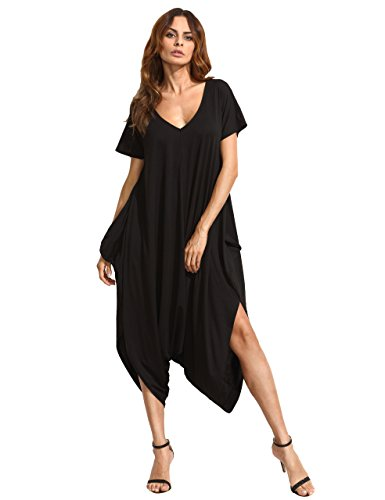 SheIn Women's Casual Loose V Neck Short Sleeve Harem Jumpsuit Medium Black
