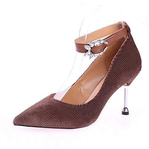 bajo y Fiesta de del el tacón Artificial de La de Estilete de Zapatos Aguja Europa Solos del Diamante el Zapatos Zapatos señalaron YMFIE Brown Primavera otoño tacón q4ExXR