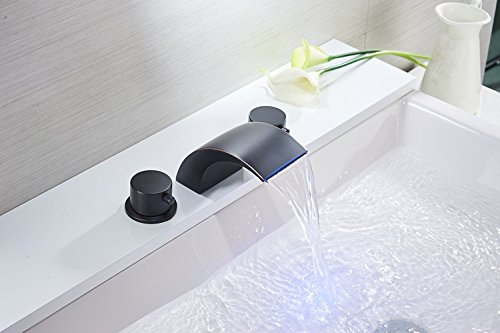Bathfinesse 8-16 Inch Led Waterfall Widespread Bathroom Sink Faucet 3 Holes with Two Handles Commercial Basin Tap Oil Rubbed Bronze
