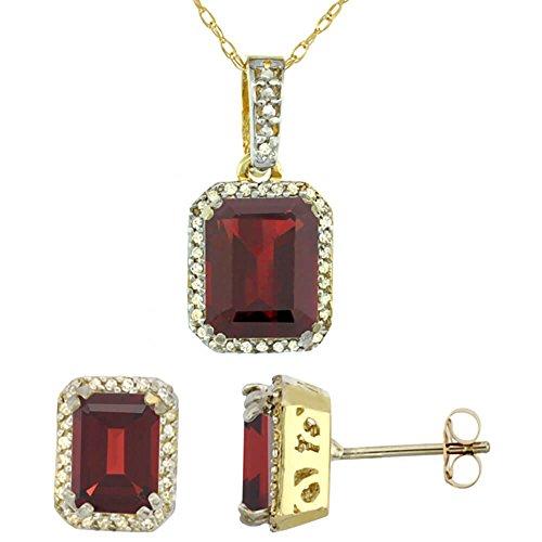 Or jaune 9Ct Grenat naturel octogone Boucles d'oreilles et pendentif Set Accents de diamant
