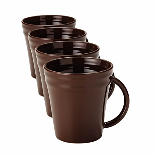 - Rachael Ray Dinnerware Double Ridge 4-Piece Stoneware Beverage Mug Set, Brown