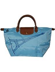 Longchamp Women Limited Edition Eiffel Tower Le Pliage Short Handle Bag, Azure