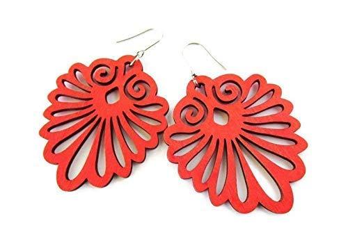 Large Red Filigree Earrings Gift for Her Urban Funky Statement Earrings Boho Wooden Earrings