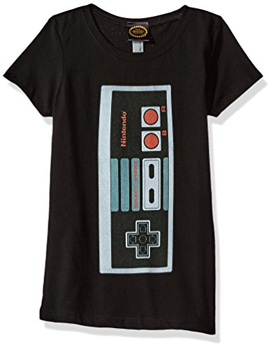 Price comparison product image Nintendo Big Girls Classic Big Controller Graphic Tee, Black, XL