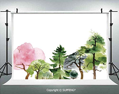 Background Colorful Forest with Oak and Willow Growth Purity Nobility in Mother Earth Theme Art 3D Backdrops for Interior Decoration Photo Studio Props