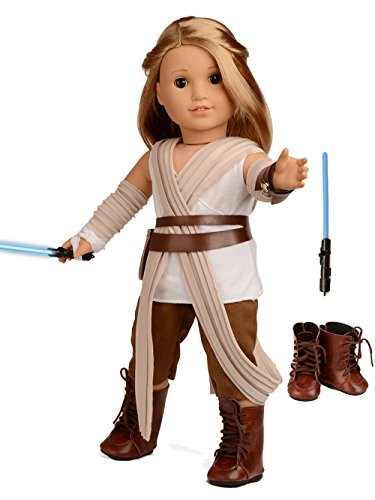 Sweet Dolly Doll Clothes Rey Inspired Doll Costume for 18 inch American Girl (Halloween Accessories Boots)