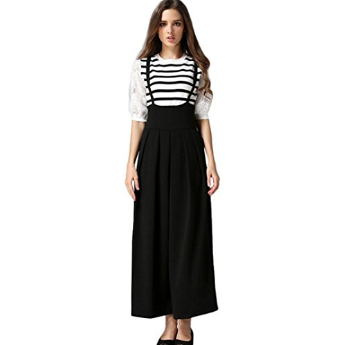 iTLOTL Women Casual Pleated High Waisted Wide Leg Palazzo Pants Suspenders Trousers(Black ,M)
