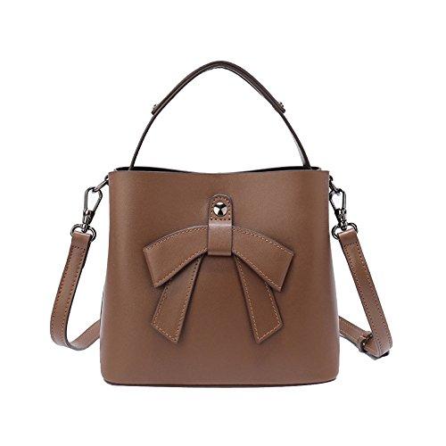 09e8c4543b4 Del Hombro Señoras bolso rojo La Ademi Cuero Elegantes Brown Para nudo Las  Bolso De top ...
